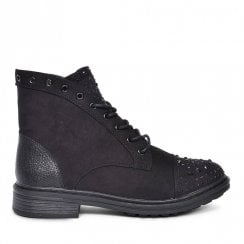 Sprox Ladies Lace Up Studded Ankle Boots - Black