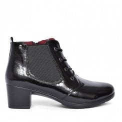 Zanni & Co Aurich Casual Patent Lace Up Ankle Boots - Black
