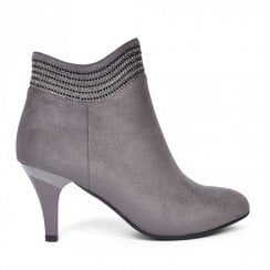 Zanni & Co Alden Embellished French Style Heel Ankle Boots - Grey