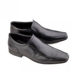 Ikon Saxon Men's Leather Slip On Dress Shoes - Black