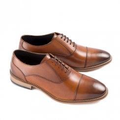 Ikon Toby Men's Leather Lace Up Smart Brogue Shoes - Tan