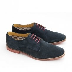 Ikon Stewart Mens Suede Casual Derby Shoes - Navy