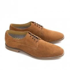 Ikon Stewart Mens Suede Casual Derby Shoes - Cognac