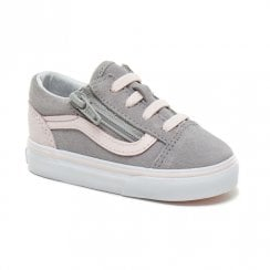Vans Kids Toddler Suede Old Skool Zip Shoes - Grey/Pink