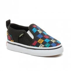 Vans Kids Toddler Monster Asher V Slip On Shoes - Checkerboard