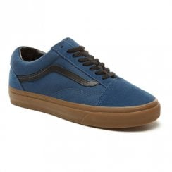 Vans Suede Gum Outsole Old Skool Shoes - Dark Navy Denim