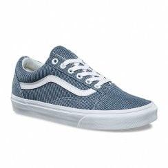Vans Women's Old Skool Trainers - Blue/White Stripes