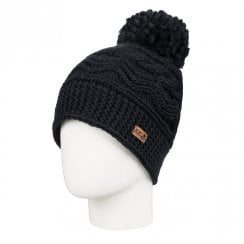 Roxy Women's Blizzard Pom-Pom Beanie Knit Hat - Black