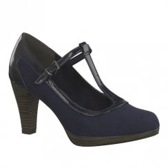 Marco Tozzi Womens T-Bar Low Platform High Heels - Navy