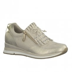 Marco Tozzi Womens Side Zip Pearls Fringe Trainers Shoes - Beige Dune