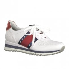 Marco Tozzi Womens Lace Up Pearls Details Trainers Shoes - White Red Navy
