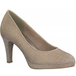 Marco Tozzi Platform Court Shoe - Rose Metallic Shimmer