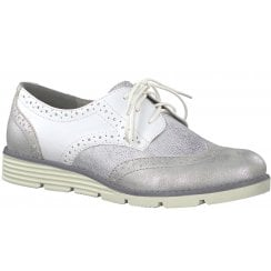S Oliver White Silver Combination Lace Up Brogue