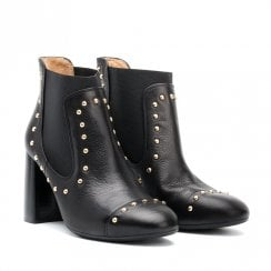 Unisa Olite Black Block Heeled Ankle Boots