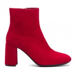 Unisa Odolfo Red Block Heeled Ankle Boots