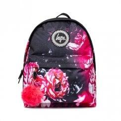 Hype Red Floral Pom Pom Backpack