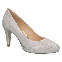 Caprice Lt Grey Premium Leather Court Shoe