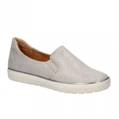 Caprice Leather Womens Slip On Trainers Shoes - Grey