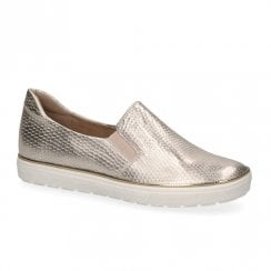 Caprice Leather Womens Slip On Trainers Shoes - Gold