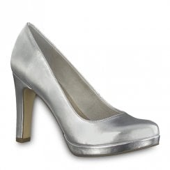 Tamaris Womens High Heel Court Shoes - Silver