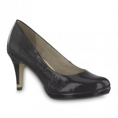 Tamaris Womens Jessa High Heel Court Shoes - Black Patent