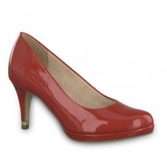 Tamaris Womens Jessa High Heel Court Shoes - Red Patent