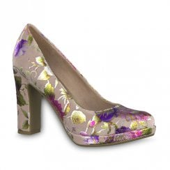 Tamaris Floral Block Heel Court Shoes - Rose Flower