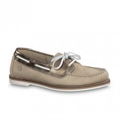 Tamaris Womens Boat Shoes - Beige Nubuck
