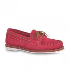 Tamaris Womens Boat Shoes - Red Nubuck