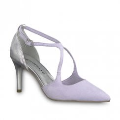 Tamaris Cross Over High Heeled Court Shoes - Lilac/Silver