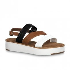 Tamaris Low Flat Wedge Heel Sandals - White/Brown