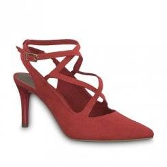 Tamaris Seagull Womens Suede High Stiletto Heel - Lipstick Red