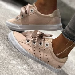 Mustang Silk Lace Sneakers - Apricot Nude