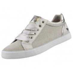Mustang Silk Lace Shimmer Sneakers - Silver