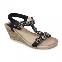 Lunar Womens JLH780 Cally Wedge Heeled Sandals - Black