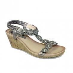 Lunar Womens JLH780 Cally Wedge Heeled Sandals - Pewter