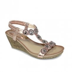 Lunar Womens JLH780 Cally Wedge Heeled Sandals - Rose Gold