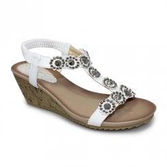 Lunar Womens JLH780 Cally Wedge Heeled Sandals - White