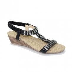 Lunar Womens JLH877 Reynolds Low Wedge Sandals - Black