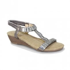 Lunar Womens JLH877 Reynolds Low Wedge Sandals - Pewter
