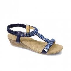 Lunar Womens JLH877 Reynolds Low Wedge Sandals - Blue