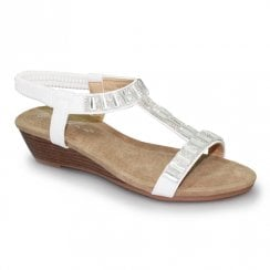 Lunar Womens JLH877 Reynolds Low Wedge Sandals - White