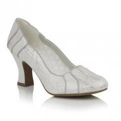 Ruby Shoo Priscilla Elegant Mid Heel Court Shoes - White/Silver