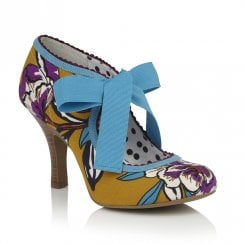 Ruby Shoo Willow Ribbon Ankle Ties Court Shoes - Yellow Mustard