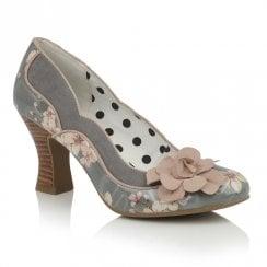 Ruby Shoo Viola Slip On Floral Print Court Shoes - Sage Grey