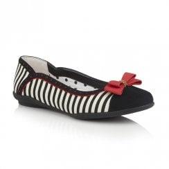 Ruby Shoo Lizzie Flat Ballerina Pumps - Black/Red