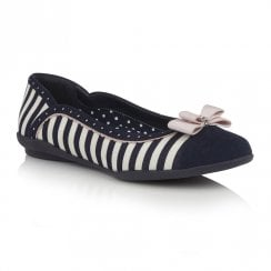 Ruby Shoo Lizzie Flat Ballerina Pumps - Navy Stripe