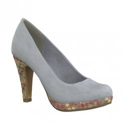 Marco Tozzi Low Platform Court High Heels - Sky Blue