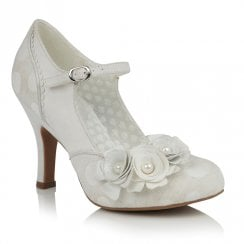 Ruby Shoo Antonia Occasion Mary Janes Heels - White/Silver