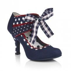Ruby Shoo Aisha Ribbon Mary Janes Heels - Navy Blue
